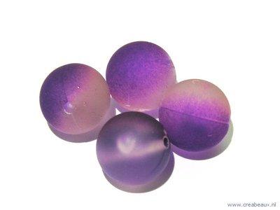 Kraal duo-kleur, 14mm, paars/transparant