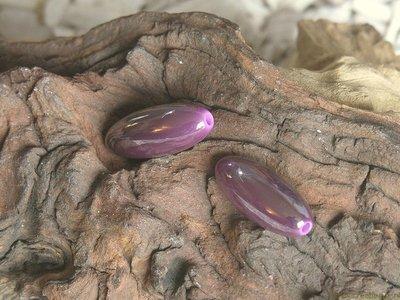 Kraal langwerpig duo-kleur, 30x13mm, paars
