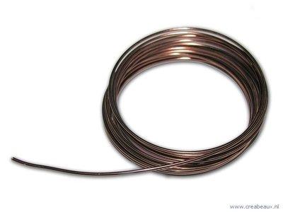 Aluminium draad rond, 2 mm, bruin