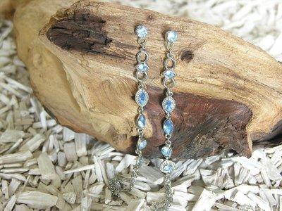 Oorbellen met kwastje, 140x8mm, zilverkleur-licht saffierblauw