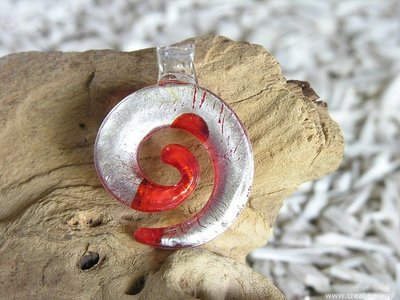 Swirl, 53x42mm, rood-zilverkleur