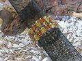 3 rijen strass stenen, elastisch, lichtbruin-donkerbruin